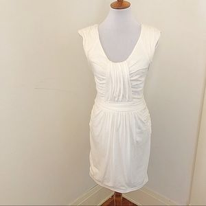 Rebecca Taylor White gathered ruched dress s